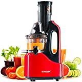 Slow Entsafter Gemüse und Obst Kaltpresse BPA Frei, Vertikale Saftpresse, Ruhiger Motor, Umkehrfunktion Tragbarer Griff, Saftkanne, Oursson - JM7002/RD