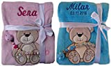 Babydecke mit Namen bestickt + Schnullerkette, Geschenk Baby Taufe Geburt (pink Eule)