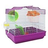 BPS Hamsterkäfig, Chalet / Haus für Hamster mit Futternapf, Tränke, Laufrad, besonderes Haus, Farbe nach Zufall, 33 x 23 x 30 cm, BPS-1175