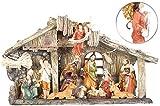 PEARL Krippen: Weihnachtskrippe aus Polyresin mit 11 handbemalten Figuren (Krippe Weihnachten)