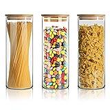 SPEEDSPORTING Vorratsdosen Glas Vorratsgläser 3 Set mit Bambus Deckel 3X 950ML Luftdichte Müsli Schüttdose & Frischhaltedosen Set Keksdosen, Aufbewahrung für Küche Tee Gewürzgläser Zucker