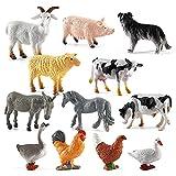 Eeauytr Simulation Bauernhof Tierfiguren Spielzeug Mini-Bauernhoftierfiguren,PVC Bauernhof Scheunentiere Spielset für Bauernhof Party und Kuchendekoration