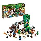 LEGO 21155 Minecraft Die Creeper Mine, Bauset mit Steve, Minecraft-Schmied, Wüstenzombie, Creeper und Tierfiguren sowie TNT-Blöcken, Minecraft-Nether-Kulisse, Spielzeuge für Kinder