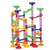 105Pcs Ballspiele Maze Ball Slide Kinderbauset, Mehrfarbige Murmelbahn Marble Run Set mit Glasmurmeln und Bahnelementen Lernspielzeug für Kinder, 3 Jahre altes Kinderspielzeug