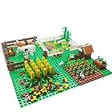 DOSGO Bauernhöfe Bausteine, DIY Naturfelder Geflügel Rinderfarmen Landschaft Bausteine Teile mit Bauplatten Kompatibel mit Lego