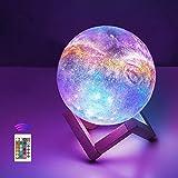 12cm Mondlampe mit Fernbedienung,OxyLED Sternenhimmel Dekoleuchte 3D Mond Kunst LED RGB Mondlampe tragbares Nachtlicht mit Dimmbar,16 Lichtfarben Wechsel,Weihnachten,Geburtstag