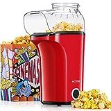 Aicook™ Popcornmaschine 1400W, Heißluft Popcorn Maker Machine für Zuhause, Große Kapazität für bis zu 120g Mais, Heißluft Popcornmaker ohne Fett & Öl, Abnehmbarer Deckel, BPA-Freie Popcorn Popper
