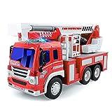 Feuerwehrauto, Feuerwehr Auto Reibungskraft Spielzeug Auto mit Leiter, Licht & Sound, Baufahrzeug für Jungen Mädchen 2 3 4 Jahre