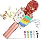 Cvozo Karaoke Mikrofon, 4 in 1 Drahtloses Bluetooth Mikrofon für Kinder, Lustige Geschenke Spielzeug für Teenager Mädchen Jungen, Tragbares KTV Lautsprecher Recorder für ios/Android/PC