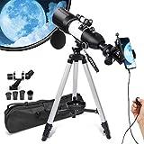 Teleskop für Erwachsene und Kinder, Anfänger, 3 drehbare Okulare, 80 mm Blende, astronomisches Refraktations-Teleskop, HD hohe Vergrößerung, tragbar und ausgestattet mit Handy-Foto-Adapter.