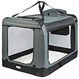 ONVAYA® Faltbare Transportbox für Hunde & Katzen   M - XXL   Faltbare Hundebox oder Katzenbox für Auto & Zuhause   Farbe grau schwarz (XXL)