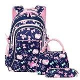 Vbiger Schulranzen Mädchen Schulrucksack Schultasche Rucksack Kinder Daypack 3 Teile Set für Schule und Freizeit Dunkelblau
