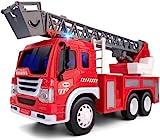 GizmoVine Feuerwehrauto , Feuerwehr ,Spielzeugautos Reibung Angetrieben Feuerwehrauto Maßstab 1/16 BauSpielzeug mit Lichtern und Tönen für Jungen und Mädchen