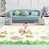 Luchild Baby Spielmatte,Krabbelmatte, Baby Krabbelmatte faltbare baby bodenmatte, umweltfreudlich, XPE Material, Doppelseiten spielbar, wasserdicht, Tragbar, BPA Frei, Giraffe(200 x 180 x1cm)