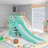 LAZY BUDDY Rutsche Kinder, Fun-Slide mit Basketballkorb, standfest und sicher, für drinnen und draußen