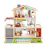 Hape E3405 - Puppen-Villa, Puppenhaus mit Zubehör, aus Holz