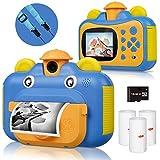Kinderkamera, Print Kamera für Kinder, 1080P HD Videokamera mit 2,4 Zoll Screen, Sofortbildkamera Schwarzweiß-Fotokamera mit 16 GB SD-Karte und 3 Rollen Druckpapier, Geschenk für Kinder (Blau)