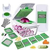 YRYP Gemüseschneider Gemüsehobel Kartoffelschneider 5 Austauschbare Klingen mit Schäler Obst, Multischneider Gemüseschäler, Julienneschneider, für Alle Gemüse