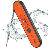 Inkbird Fleischthermometer, USB Wiederaufladbar Digital Fleischthermometer IHT-1P, IPX5 Wasserfest Kochthermometer Küchenthermometer, Grillthermometer für Braten, BBQ, Baby-Ernährung (Orange)