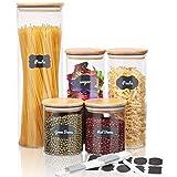 SAWAKE Vorratsgläser 5er Set, Gewürzgläser Vorratsdosen Glas Set Vorratsbehälter Vorratsglas mit Deckel Aufbewahrungsbox Küche,Vorratsdosen luftdicht für Gewürze/Bohnen/Pulver/Zucker/Spaghetti(Grau)