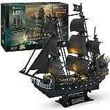 CubicFun 3D Puzzle LED 68 cm Black Pearl - Queen Anne's Revenge Großes Modellschiff, Geburtstagsgeschenk für Erwachsene, 340 Stück (1/95︱LED Queen Anne's Revenge)