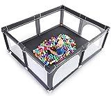 ANGELBLISS Laufstall Baby Laufgitter Absperrgitter mit atmungsaktivem Netz Schutzgitter Krabbelgitter für Kinder, große Sicherheitsspielplatz,