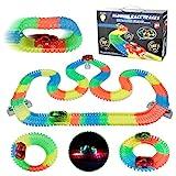 Akokie Rennbahn Autorennbahn Kinder Cars Spielzeug 240 Stück Leuchtende Autospuren Spiele für Kinder mit 2 Led Autos Spielzeug Geschenk für Junge Mädchen 3 4 5 6 Jahren