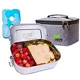 Clean Lunch'N Große Edelstahl-Lunchbox – auslaufsicher & spülmaschinenfest, verstellbarer Abschnitt, Metall-Bento-Box, Lunch-Tasche & Eispack-Kombination, BPA-freie Lebensmittelaufbewahrung