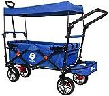 Miweba Faltbarer Bollerwagen MB-20 für Kinder - Bremse - Dach - Breitreifen - Transporttasche - Klappbar - UV-Beständig - Handwagen faltbar (Blau)