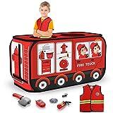 TEMI Feuerwehrauto-Zelt – Faltbares Pop-Up-Spielzelt   Spielhaus für Kinder drinnen und draußen   inklusive Rollenspiel-Kostüm und Feuerwehrwerkzeuge (111,8 x 66 cm)