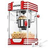 Popcornmaschine, Profi Retro Heiße Butter 300W Popcorn Maschine, mit Retro Light, Antihaftbeschichtung, Popcorn-Tablett, Kurze Aufheizzeit, Geeignet für Film und Weihnachtsnacht, Rot