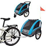 Veelar Sports 2 in 1 Kinderanhänger Fahrradanhänger Anhänger mit Buggy Set + Federung 60302-03 BLAU