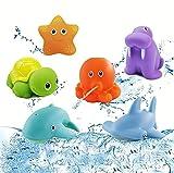 GoHist Baby Badespielzeug, Badewannenspielzeug Spritztiere, Lustige Wasserspritztiere, 6 Pcs auf Schadstoffe und BPA geprüft, Baby ab 6 Monaten übt Feinmotorik und Greifkraft