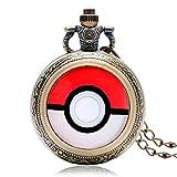 JLyshop Taschenuhr, Monster-Anime-Pokeball, Bronze, Pokemon Go, Taschenuhr für Herren, Taschenuhr, Geschenk