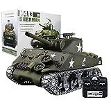 CALEN RC Panzer mit Schussfunktion und Licht und Klang Rauch ferngsteuert Modell, 1:16 2.4G Militär Amerikanischer M4A3 Sherman simulierter Panzer für Erwachsene und Kinder