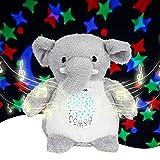 Lightess Einschlafhilfe Babys Musik und Licht Baby Spieluhr Kleinkind Schlafhilfe Plüsch Tragbarer Elefant Weisses Rauschen Spielzeug Kinder Geschenk für Junge/n und Mädchen mit 15 Beruhigende Musik