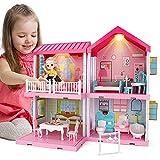 Mini Tudou Traumhaus Puppenhaus Set, Puppenhaus Accessoires und Möbeln, DIY Rollenspiel BAU Spielset mit Puppe und Beleuchtungen, Traum Prinzessin Haus für Toddler, Kinder Junge und Mädchen