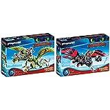 PLAYMOBIL DreamWorks Dragons 70730 Dragon Racing: Raffnuss und Taffnuss mit Kotz und Würg, Ab 4 Jahren & DreamWorks Dragons 70727 Dragon Racing: Hicks und Ohnezahn, Mit Lichtmodul, Ab 4 Jahren