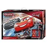 Carrera 20062475 GO!!! Disney Pixar Cars Let's Race Rennstrecken-Set | 6,2m elektrische Carrerabahn mit Lightning McQueen & Ramirez Spielzeugautos | mit 2 Handreglern & Streckenteilen | Ab 6 Jahren