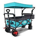 TMZ Faltbar Bollerwagen mit Dach, Klappbar Handwagen für Kinder, Patentiert 360° Dreh-Räder Gartenwagen, Breite AutoReifen Klappwagen, Doppelfuß-Bremsen Transportwagen, Strandwagen, 120kg, 100L