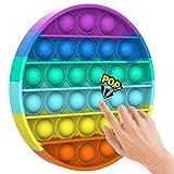 Yefun Push Bubble Sensory Fidget Spielzeug, Stressabbau, spezielle Bedürfnisse, stille Klassenzimmer (Regenbogen rund)