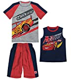 Disney Boys Cars Lightning McQueen Gray Heather 3 Piece T-Shirt Tank Top Short Set (2T)