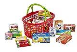 Polly Kaufmannsladen Zubehör für Kinder | Roter Einkaufskorb für den Kaufladen | Gefüllt mit Lebensmittel Miniaturen