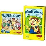 Haba 302372 - Papperlapapp, Lernspielsammlung mit 6 Spielen für Kinder ab 3 Jahren & 304242 - Mimik Memo – Lernspiele für Mund- und Lippenmotorik, spielerische Sprachförderung für Kinder 3-8 Jahren