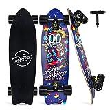 BELEEV Skateboard 27x8 Zoll Komplette Cruiser Skateboard für Kinder Anfänger Jugendliche Erwachsene, Ahorn Double Kick Deck Concave mit All-in-One Skate T-Tool (Blue)