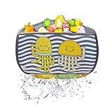 BRUNOKO Ecke Badespielzeug Aufbewahrung + Wasserhahnverlängerung Kinder 2 in 1 - Kleinkind Badewannennetz für Spielzeug für Badewannen Spielzeug mit 4 Saugnäpfen Haken - Entwickelt in Spanien