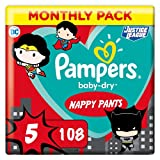 Pampers Größe 5 Baby Dry Windeln Pants, 108 Stück, MONATSBOX, Für Atmungsaktive Trockenheit (12-17kg)