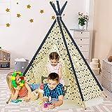 YOLEO Tipi Kinderzimmer Spielzelt für Kinder Indianerzelt Kinderzelt, Kinderzimmer Zelt, Spielhaus Zelt drinnen draußen -Baumwolle-Segeltuch Kinder Zelt (Gelb Chevron 155cm Hoch )