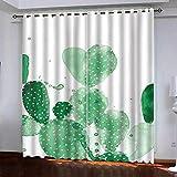 YTSDBB Blickdicht Gardinen für Schlafzimmer - Grüner Kaktus - B 160 x H 121 cm Thermovorhang Schlafzimmer Lichtundurchlässig Stoff Lärmschutzvorhang für Junge Mädchen Wohnzimmer Teenageralter
