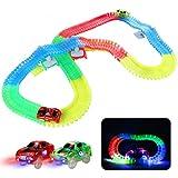 Fajiabao Leuchtende Autorennbahn Rennbahn Kinder Magische 240 Stück Glow Track Twister mit 2 Leucht Elektro Autos Spielzeug Ostern Kinder 3 4 5 6 Jahren Junge